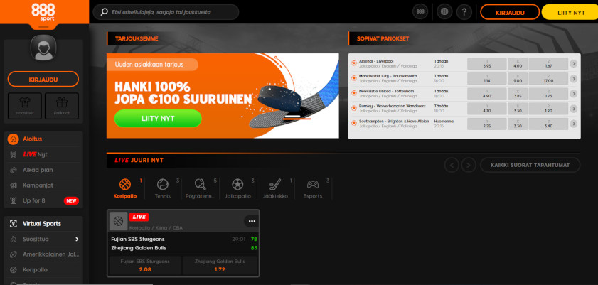 Kuvakaappaus 888sport Kotivisu