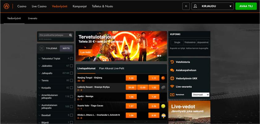 Kuvakaappaus Casino Winner Kotivisu